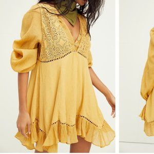 NWT Free People Mustard Yellow Freya Dress Set M